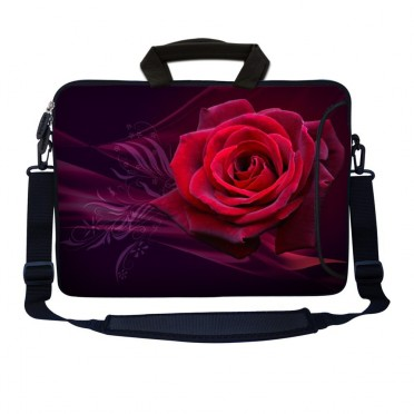 Laptop Sleeve Carrying Case w/ Removable Shoulder Strap - Pink Rose Floral Flower