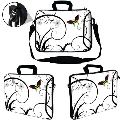 Laptop Sleeve Carrying Case w/ Removable Shoulder Strap - White Butterfly Escape Floral