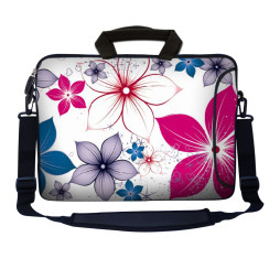 Laptop Sleeve Carrying Case w/ Removable Shoulder Strap - White Pink Blue Flower Leaves