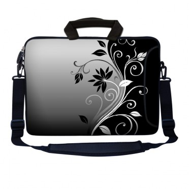 Laptop Sleeve Carrying Case w/ Removable Shoulder Strap - Gray Black Swirl Floral
