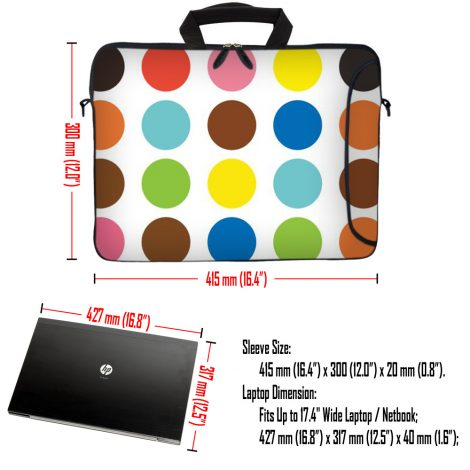 Laptop Sleeve Carrying Case w/ Removable Shoulder Strap - Polka Dots