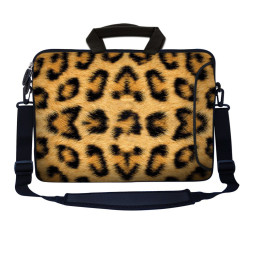 Laptop Sleeve Carrying Case w/ Removable Shoulder Strap - Leopard Print