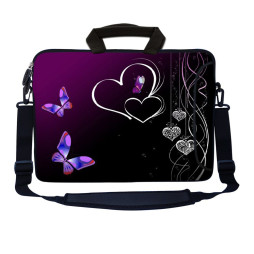 Laptop Sleeve Carrying Case w/ Removable Shoulder Strap - Butterfly Heart Floral