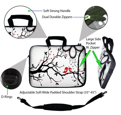 Laptop Sleeve Carrying Case w/ Removable Shoulder Strap - Love Birds