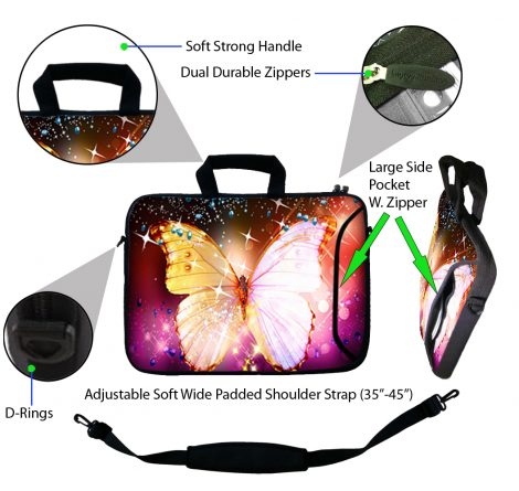 Laptop Sleeve Carrying Case w/ Removable Shoulder Strap - Sparkling Butterfly