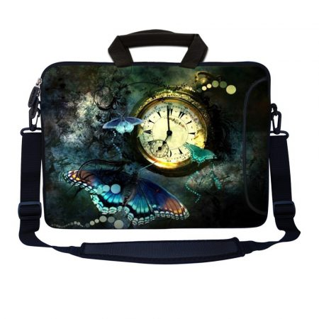 Laptop Sleeve Carrying Case w/ Removable Shoulder Strap - Clock Butterfly Floral