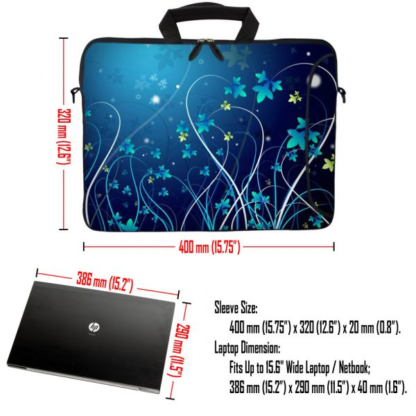 Laptop Sleeve Carrying Case w/ Removable Shoulder Strap & Skin & Mouse Pad - Blue Swirl Mid Summer Night Floral
