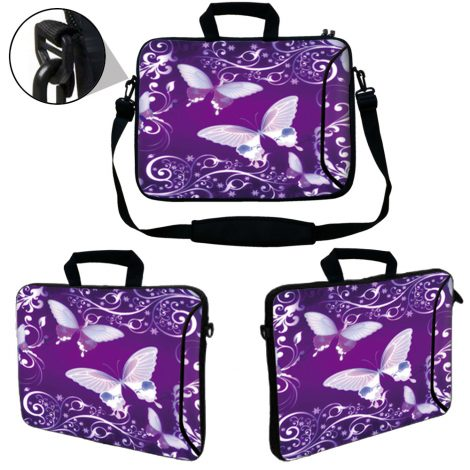 Laptop Sleeve Carrying Case w/ Removable Shoulder Strap & Skin & Mouse Pad - Purple Butterfly