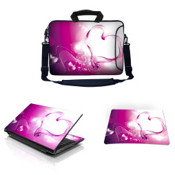 Laptop Sleeve Carrying Case w/ Removable Shoulder Strap & Skin & Mouse Pad - Pink Heart