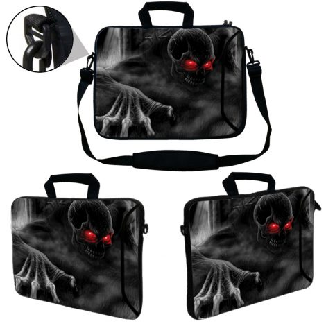 Laptop Sleeve Carrying Case w/ Removable Shoulder Strap & Skin & Mouse Pad - Red Eye Dark Ghost Zombie Skull