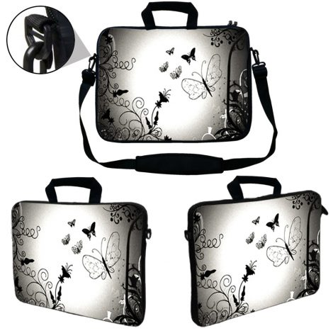 Laptop Sleeve Carrying Case w/ Removable Shoulder Strap & Skin & Mouse Pad - Dark Contrast Fade Butterfly