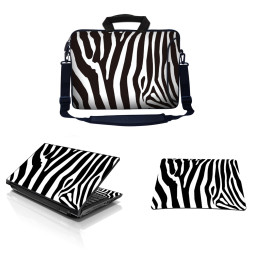 Laptop Sleeve Carrying Case w/ Removable Shoulder Strap & Skin & Mouse Pad - Zebra Print