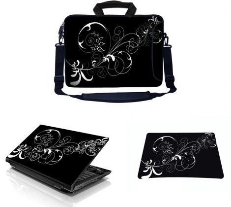 Laptop Sleeve Carrying Case w/ Removable Shoulder Strap & Skin & Mouse Pad - Vines Black and White Swirl Floral