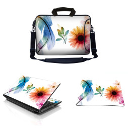 Laptop Sleeve Carrying Case w/ Removable Shoulder Strap & Skin & Mouse Pad - Daisy Flower Leaves Floral