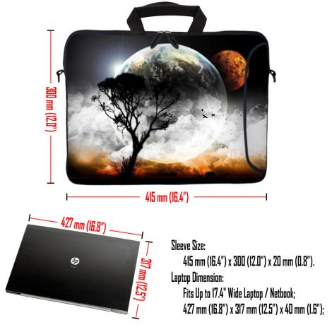 Laptop Sleeve Carrying Case w/ Removable Shoulder Strap & Skin & Mouse Pad - Earth and Moon Eclipse