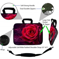Laptop Sleeve Carrying Case w/ Removable Shoulder Strap & Skin & Mouse Pad - Pink Rose Floral Flower