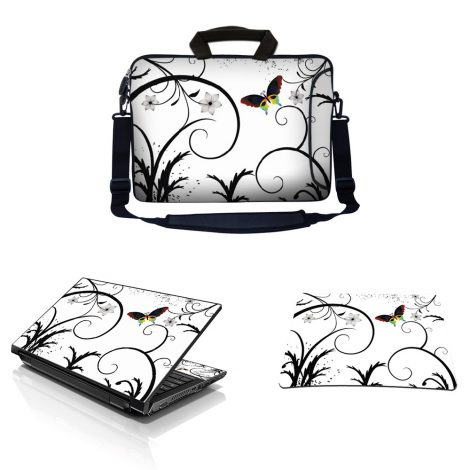 Laptop Sleeve Carrying Case w/ Removable Shoulder Strap & Skin & Mouse Pad – White Butterfly Escape Floral