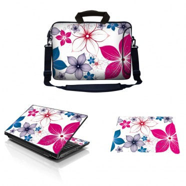 Laptop Sleeve Carrying Case w/ Removable Shoulder Strap & Skin & Mouse Pad - White Pink Blue Flower Leaves
