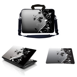 Laptop Sleeve Carrying Case w/ Removable Shoulder Strap & Skin & Mouse Pad - Gray Black Swirl Floral
