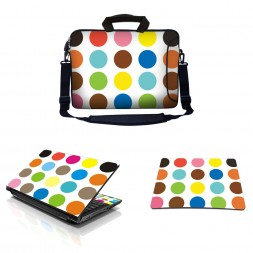 Laptop Sleeve Carrying Case w/ Removable Shoulder Strap & Skin & Mouse Pad - Polka Dots
