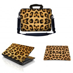 Laptop Sleeve Carrying Case w/ Removable Shoulder Strap & Skin & Mouse Pad - Leopard Print