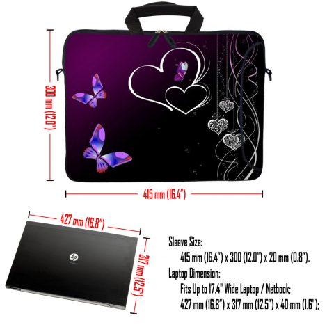 Laptop Sleeve Carrying Case w/ Removable Shoulder Strap & Skin & Mouse Pad - Butterfly Heart Floral