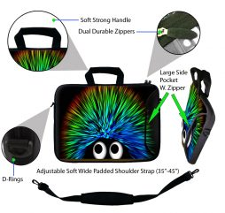 Laptop Sleeve Carrying Case w/ Removable Shoulder Strap & Skin & Mouse Pad - Hedgehog