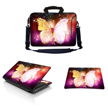 Laptop Sleeve Carrying Case w/ Removable Shoulder Strap & Skin & Mouse Pad - Sparkling Butterfly