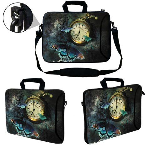 Laptop Sleeve Carrying Case w/ Removable Shoulder Strap & Skin & Mouse Pad - Clock Butterfly Floral
