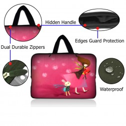 Netbook Sleeve Carrying Case w/ Hidden Handle - Girl Birthday Party