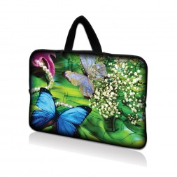 Netbook Sleeve Carrying Case w/ Hidden Handle - Butterfly Floral