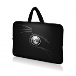 Netbook Sleeve Carrying Case w/ Hidden Handle - Ying Yang Black