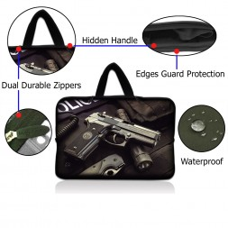 Netbook Sleeve Carrying Case w/ Hidden Handle - Police Gun Weapons