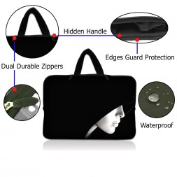 Netbook Sleeve Carrying Case w/ Hidden Handle - Lady in Hood