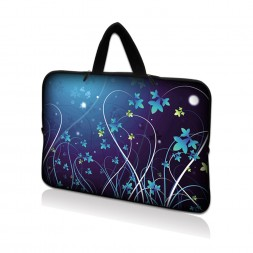 Netbook Sleeve Carrying Case w/ Hidden Handle - Blue Swirl Mid Summer Night Floral