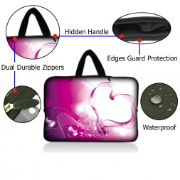 Netbook Sleeve Carrying Case w/ Hidden Handle - Pink Heart