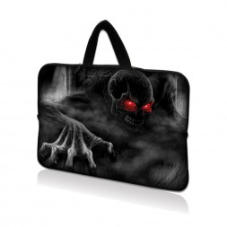 Netbook Sleeve Carrying Case w/ Hidden Handle - Red Eye Dark Ghost Zombie Skull