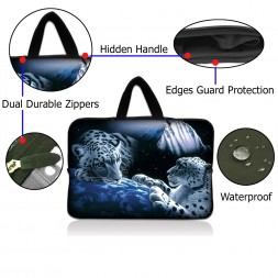 Netbook Sleeve Carrying Case w/ Hidden Handle - Mountain Lions