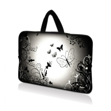Netbook Sleeve Carrying Case w/ Hidden Handle - Dark Contrast Fade Butterfly