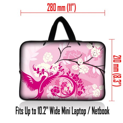 Netbook Sleeve Carrying Case w/ Hidden Handle - Pink White Roses Bird Floral