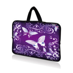 Netbook Sleeve Carrying Case w/ Hidden Handle - Purple Butterfly