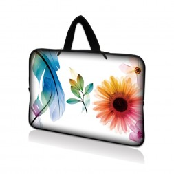 Netbook Sleeve Carrying Case w/ Hidden Handle - Daisy Flower Leaves Floral