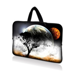 Netbook Sleeve Carrying Case w/ Hidden Handle - Earth and Moon Eclipse