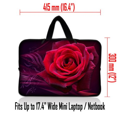 Netbook Sleeve Carrying Case w/ Hidden Handle - Pink Rose Floral Flower