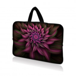 Netbook Sleeve Carrying Case w/ Hidden Handle - Purple Floral Flower