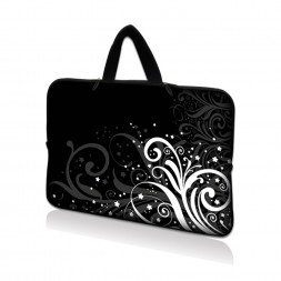 Netbook Sleeve Carrying Case w/ Hidden Handle - Black and White Floral