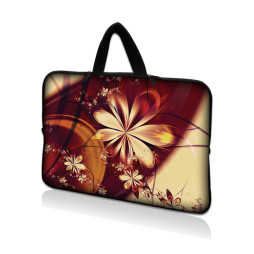 Netbook Sleeve Carrying Case w/ Hidden Handle - Gold Flower Floral