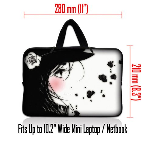Netbook Sleeve Carrying Case w/ Hidden Handle - Girl with White Rose