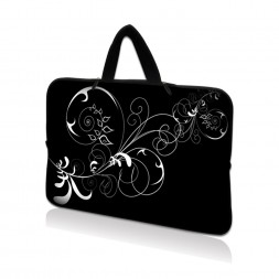 Netbook Sleeve Carrying Case w/ Hidden Handle - Vines Black and White Swirl Floral