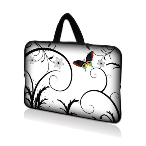 Netbook Sleeve Carrying Case w/ Hidden Handle - White Butterfly Escape Floral